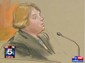 Sarah Morgan on the stand Sketch courtesy: William J. Hennessy, Jr.